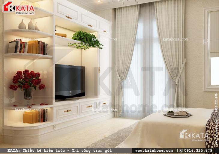 Thiết kế nội thất biệt thự tân cổ điển cho phòng ngủ đôi đơn giản và sang trọng