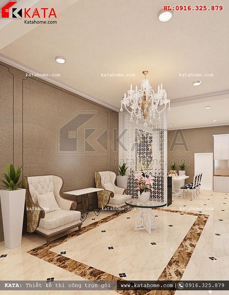 Các góc chụp không gian phòng khách sau khi hoàn thành dự án thiết kế nội thất biệt thự 3 tầng tân cổ điển (1)