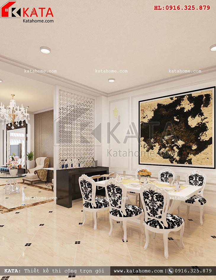 Thiết kế nội thất biệt thự 3 tầng tân cổ điển với khu vực phòng ăn lịch lãm và sang trọng (1)