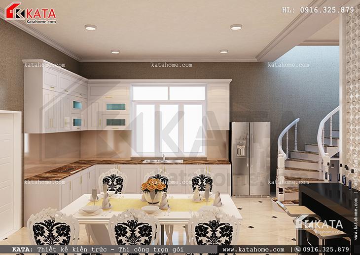 Thiết kế nội thất biệt thự 3 tầng tân cổ điển với khu vực phòng ăn lịch lãm và sang trọng