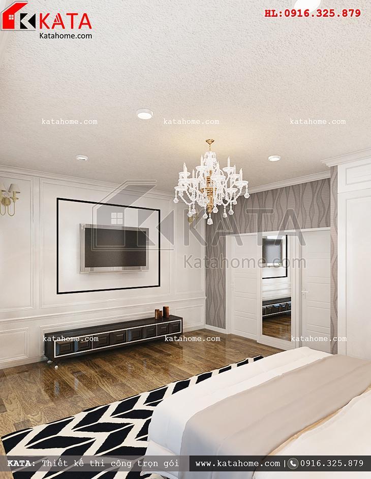 Thiết kế nội thất biệt thự 3 tầng tân cổ điển cho phòng ngủ đơn giản và nhẹ nhàng với các tone màu đối lập bắt mắt