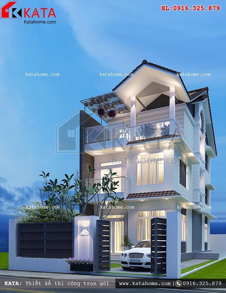 Phối cảnh chi tiết bản thiết kế biệt thự 3 tầng hiện đại - Mã số: NT 17021