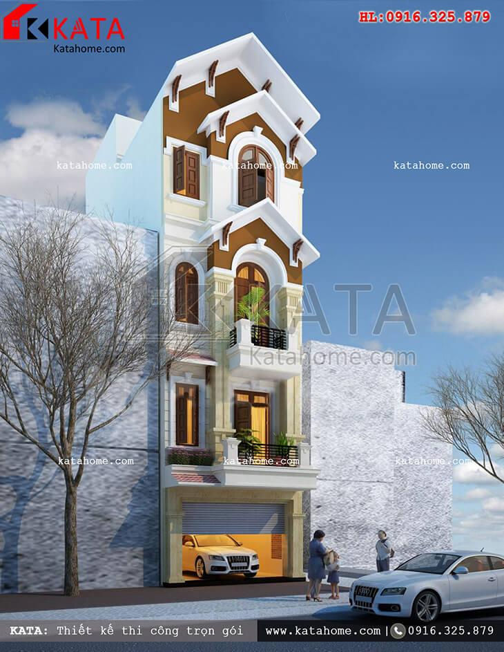 Mẫu nhà phố 4 tầng tân cổ điển thu hút mọi ánh nhìn