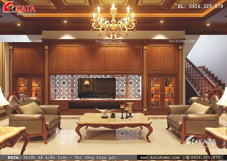 Nội thất phòng khách sang trọng của mẫu nhà phố 4 tầng tân cổ điển tại Phú Thọ (1)