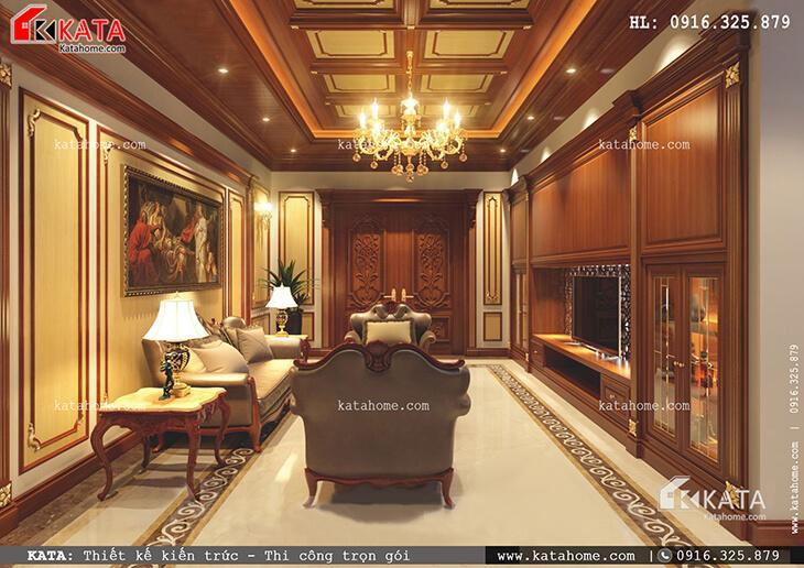Nội thất phòng khách sang trọng của mẫu nhà phố 4 tầng tân cổ điển tại Phú Thọ