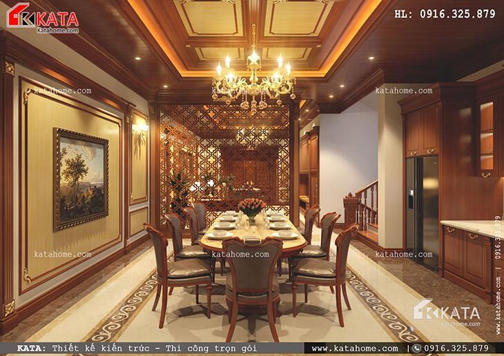 Thiết kế phòng ăn đẹp mắt với nội thất gỗ sang trọng của mẫu nhà phố 4 tầng tân cổ điển