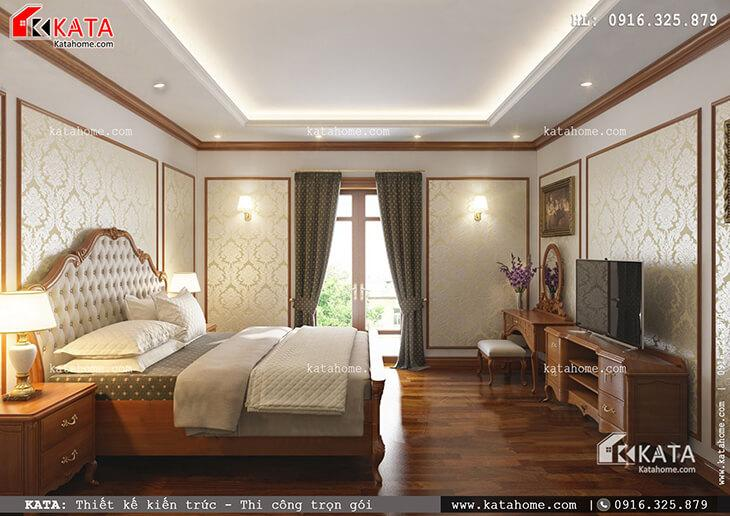 Thiết kế phòng ngủ Master cho mẫu nhà phố 4 tầng tân cổ điển vô cùng đẹp mắt với nội thất gỗ sang trọng (2)