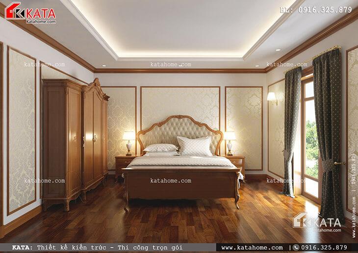 Thiết kế phòng ngủ Master cho mẫu nhà phố 4 tầng tân cổ điển vô cùng đẹp mắt với nội thất gỗ sang trọng (1)