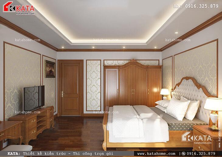 Thiết kế phòng ngủ Master cho mẫu nhà phố 4 tầng tân cổ điển vô cùng đẹp mắt với nội thất gỗ sang trọng