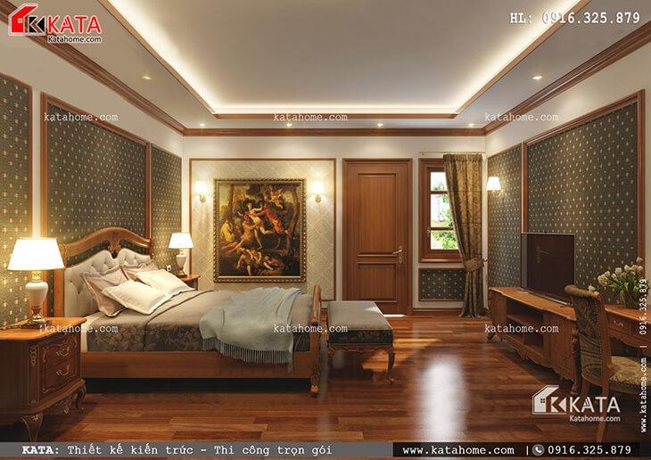 Phối cảnh phòng ngủ của mẫu nhà phố 4 tầng tân cổ điển dành cho con trai gia chủ (2)