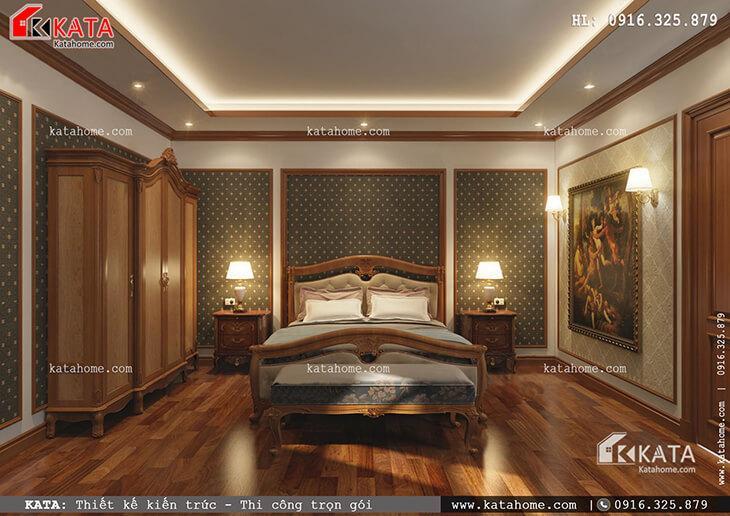 Phối cảnh phòng ngủ của mẫu nhà phố 4 tầng tân cổ điển dành cho con trai gia chủ