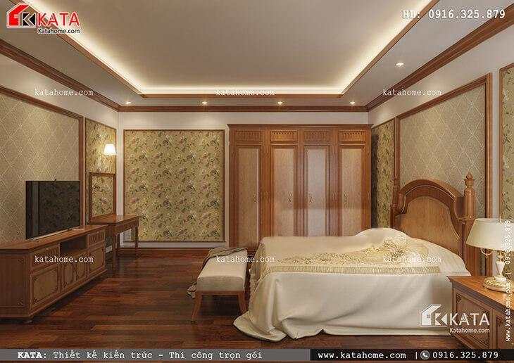 Thiết kế phòng ngủ của con gái cho mẫu nhà phố 4 tầng tân cổ điển vô cùng tiện nghi và được bố trí hợp lý