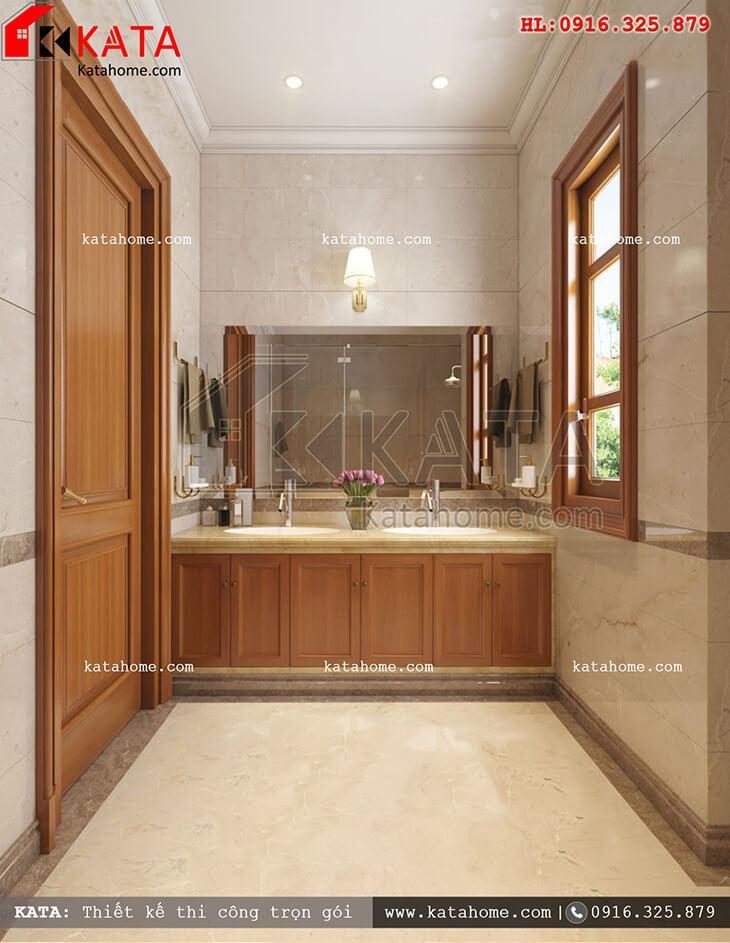 Cách thiết kế nội thất phòng tắm và vệ sinh đẹp mắt cho mẫu nhà phố 4 tầng tân cổ điển (3)