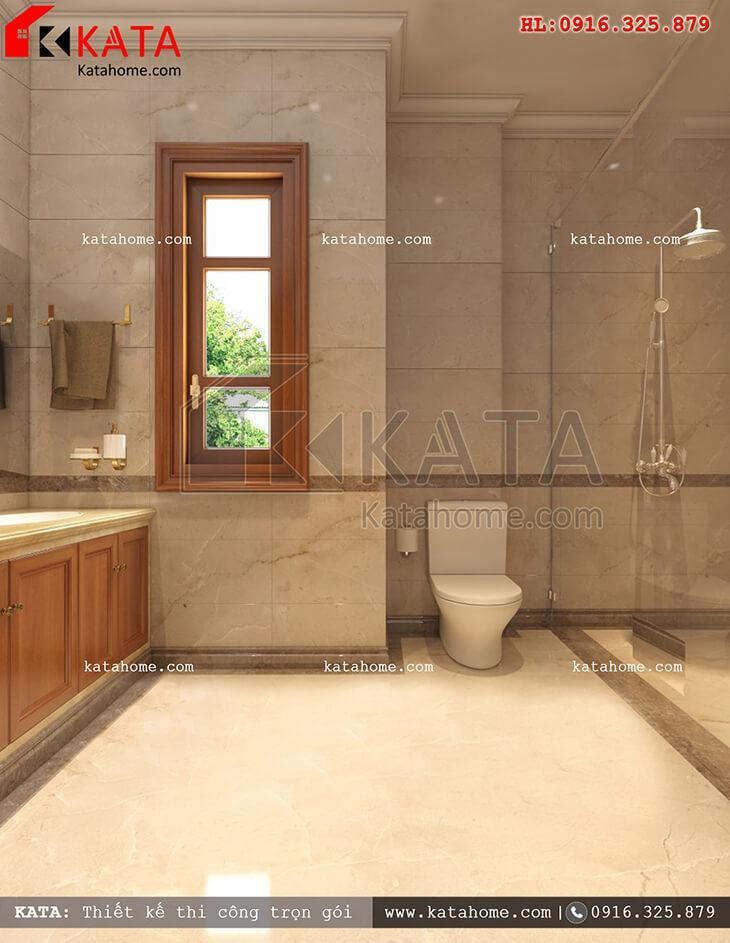 Cách thiết kế nội thất phòng tắm và vệ sinh đẹp mắt cho mẫu nhà phố 4 tầng tân cổ điển (2)