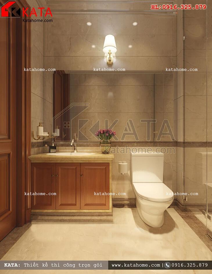 Cách thiết kế nội thất phòng tắm và vệ sinh đẹp mắt cho mẫu nhà phố 4 tầng tân cổ điển (1)