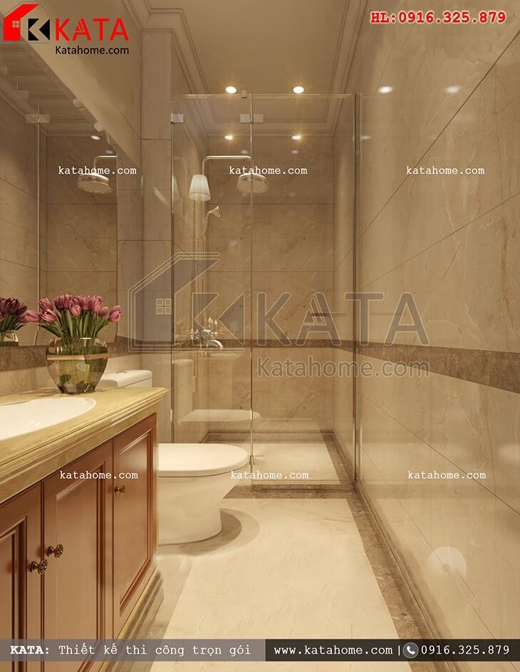 Cách thiết kế nội thất phòng tắm và vệ sinh đẹp mắt cho mẫu nhà phố 4 tầng tân cổ điển