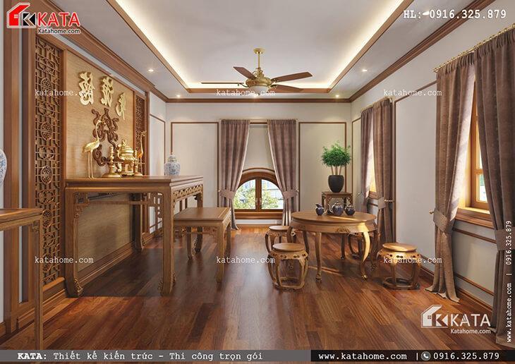 Phòng thờ của mẫu nhà phố 4 tầng tân cổ điển được thiết kế với một không khí trang nghiêm, thanh tịnh