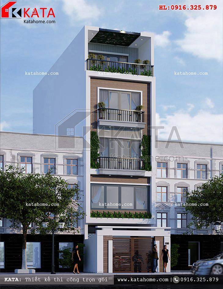 Một View nhìn khá đẹp của mẫu thiết kế nhà lô phố đẹp 5 tầng