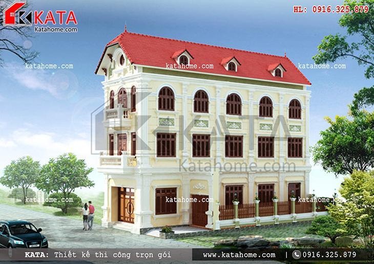 Phối cảnh sang trọng của mẫu thiết kế nhà lô phố đẹp 4 tầng