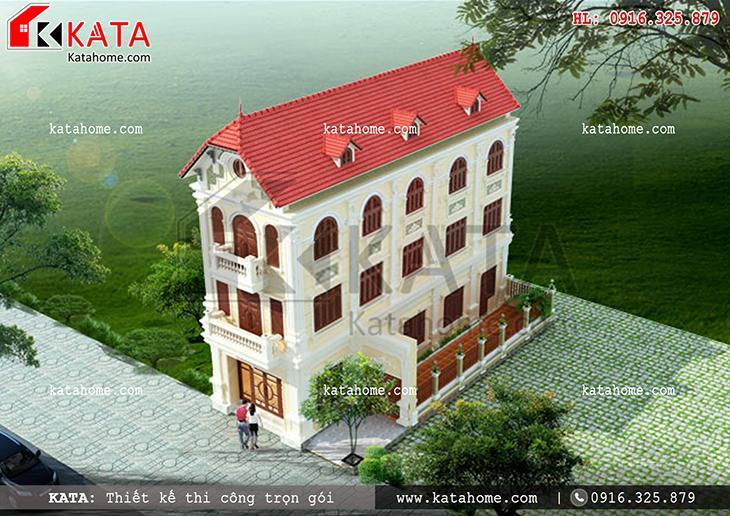 Kiến trúc mặt tiền sinh động sắc màu dung hòa của mẫu thiết kế nhà lô phố đẹp 4 tầng
