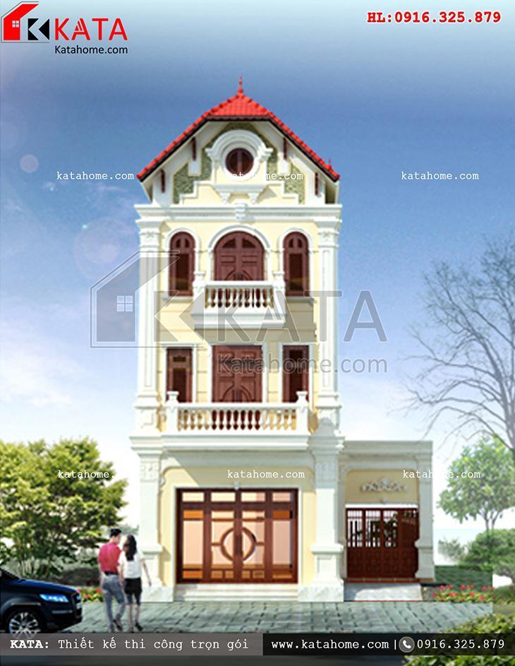 Thiết kế nhà lô phố tân cổ điển mái ngói đỏ