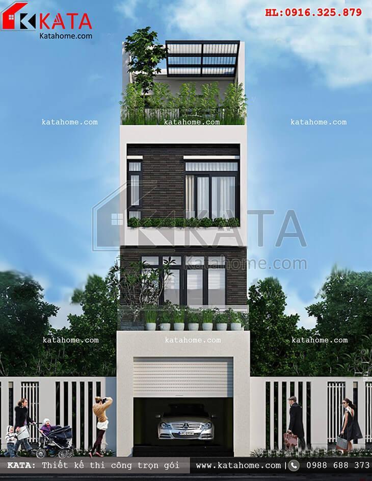 Mẫu thiết kế nhà ở 4 tầng có gara tại Thái Nguyên – Mã số: NP 45052