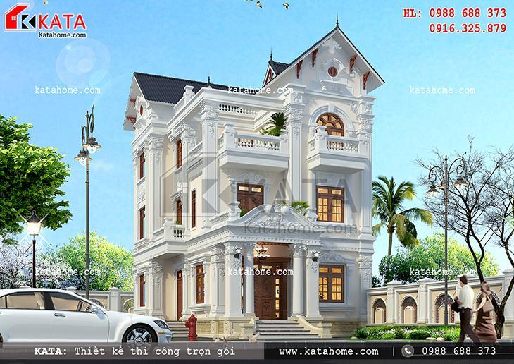 Phối cảnh mặt tiền của căn nhà biệt thự đẹp 3 tầng kiến trúc tân cổ điển