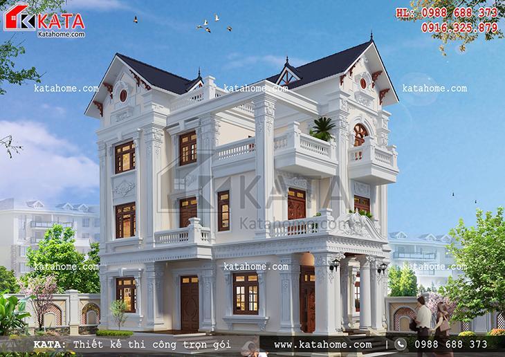 Hình khối đường nét và ngôn ngữ kiến trúc của mẫu nhà biệt thự đẹp 3 tầng đạt đến tầm tinh tế