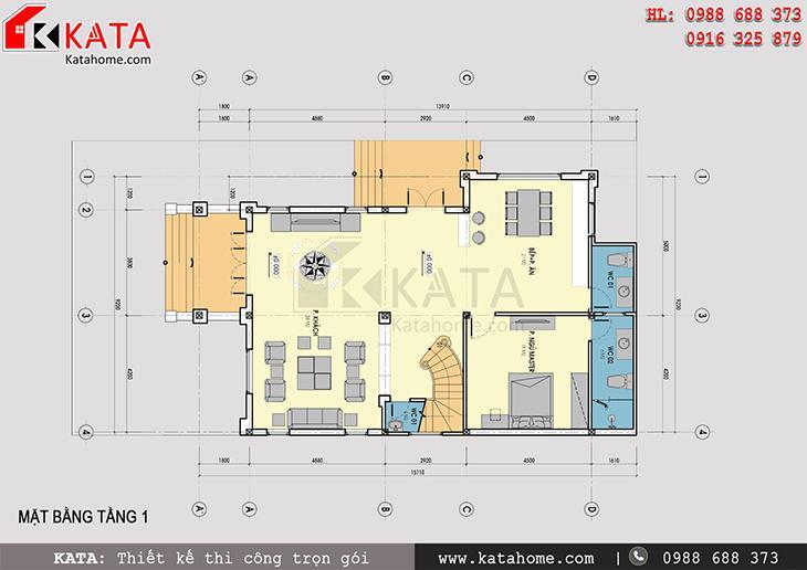 Mặt bằng công năng tầng 1 của mẫu nhà biệt thự đẹp 3 tầng
