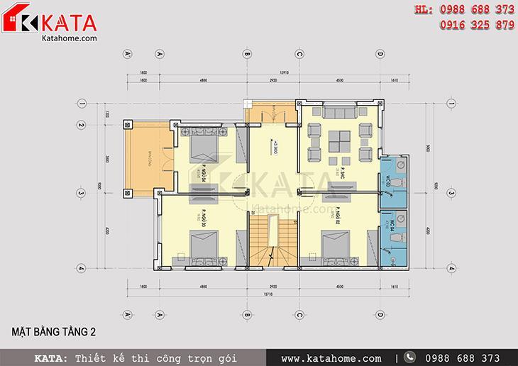Mặt bằng tầng 2 của mẫu nhà biệt thự 3 tầng đẹp tại Hà Tĩnh