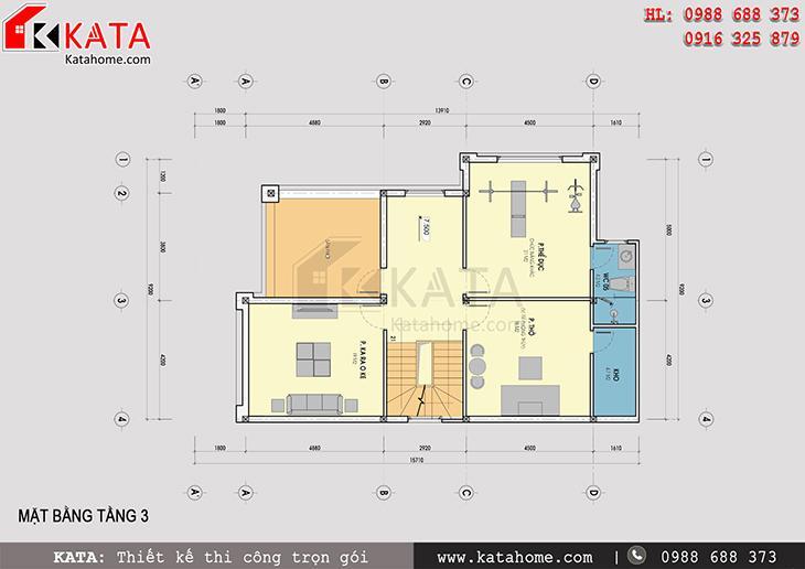 Mặt bằng tầng 3 của mẫu nhà biệt thự 3 tầng đẹp mang mã số: BT 31021