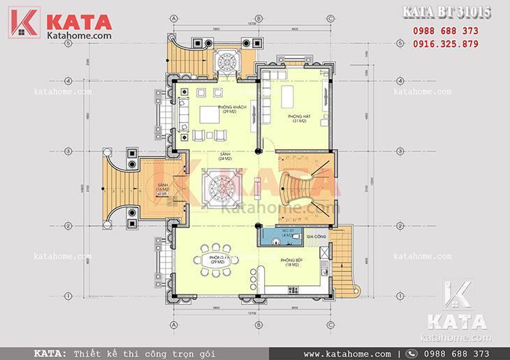 Mặt bằng công năng tầng 1 của mẫu thiết kế nhà biệt thự 3 tầng tân cổ điển
