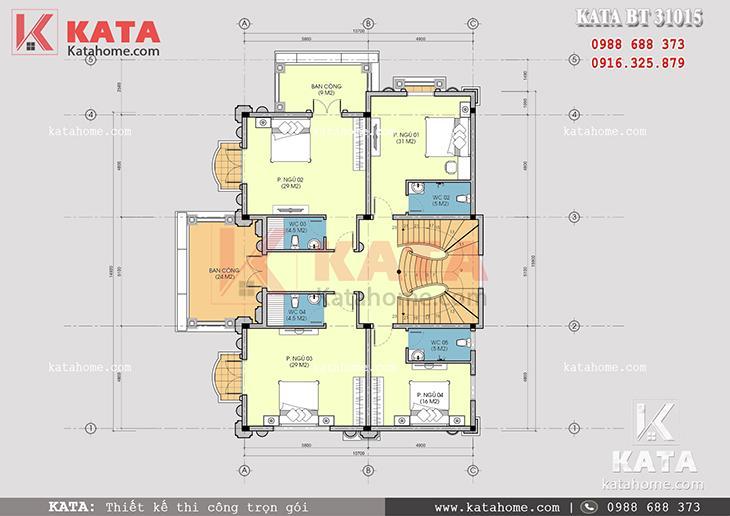 Mặt bằng công năng tầng 2 của mẫu thiết kế nhà biệt thự 3 tầng tân cổ điển