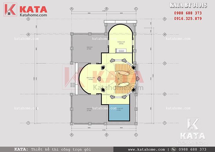 Mặt bằng mái chum của mẫu thiết kế nhà biệt thự 3 tầng tân cổ điển