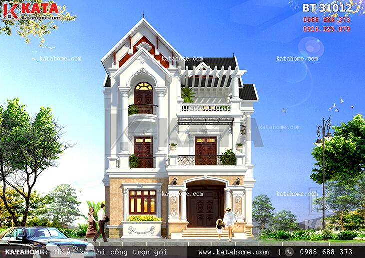 Mẫu biệt thự mái thái 3 tầng đẹp