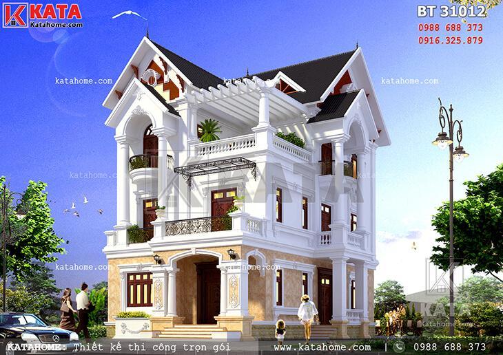 Phối cảnh chi tiết cho mẫu thiết kế biệt thự 3 tầng mái Thái tân cổ điển tại Nam Định - Mã số: BT 31012