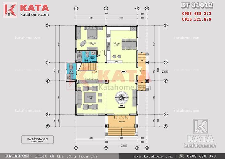 Mặt bằng công năng tầng 1 của mẫu biệt thự 3 tầng mái Thái tân cổ điển tại Nam Định