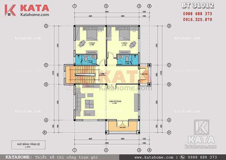 Mặt bằng công năng tầng 2 của mẫu thiết kế biệt thự 3 tầng mái Thái tân cổ điển - Mã số: BT 31012