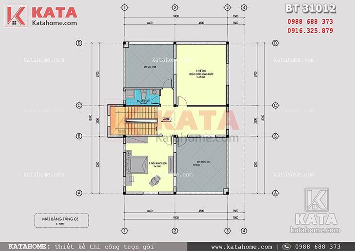 Mặt bằng công năng tầng 3 của mẫu biệt thự 3 tầng mái Thái tân cổ điển - Mã số: BT 31012
