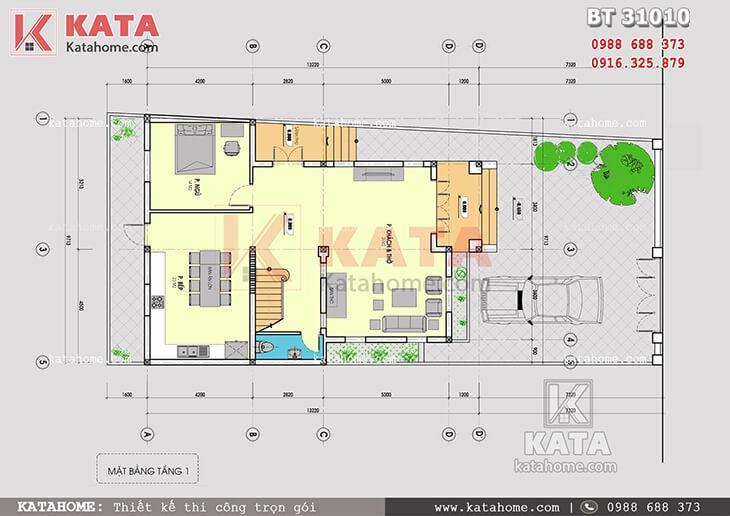 Mặt bằng công năng tầng 1 của mẫu thiết kế biệt thự tân cổ điển 3 tầng