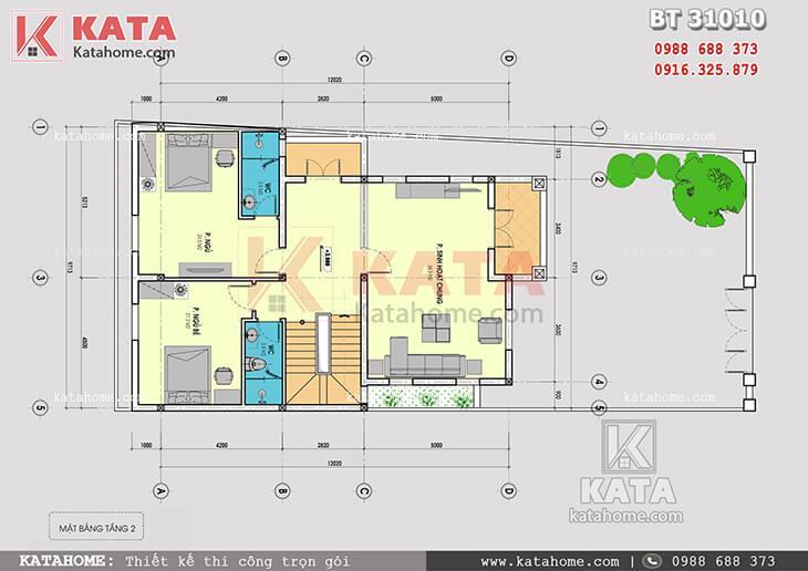 Mặt bằng công năng tầng 2 của mẫu thiết kế biệt thự tân cổ điển 3 tầng