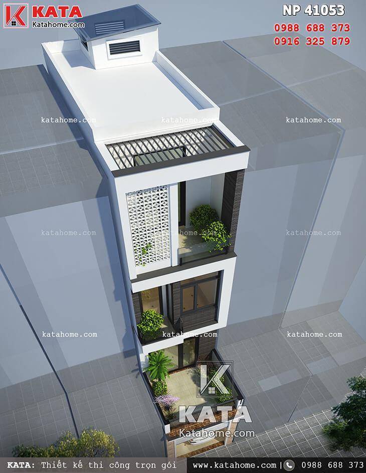 Mặt tiền của mẫu thiết kế nhà phố 4 tầng hiện đại khi được nhìn từ trên cao