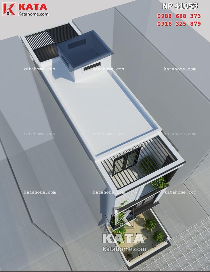 Hệ thống thanh nan được sử dụng để tăng độ thông thoáng cho mẫu thiết kế nhà phố 4 tầng hiện đại