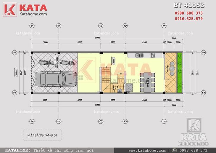 Mặt bằng công năng tầng 1 của mẫu thiết kế nhà phố 4 tầng hiện đại