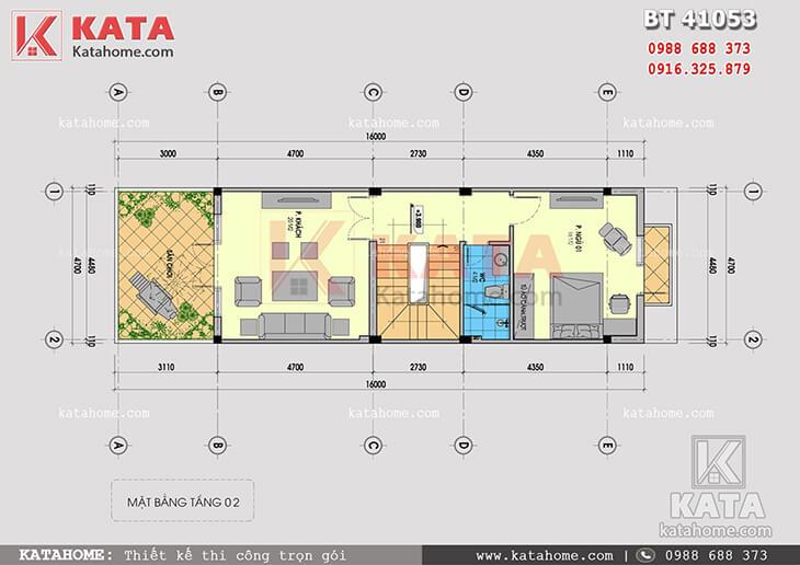 Mặt bằng công năng tầng 2 của mẫu thiết kế nhà phố 4 tầng hiện đại