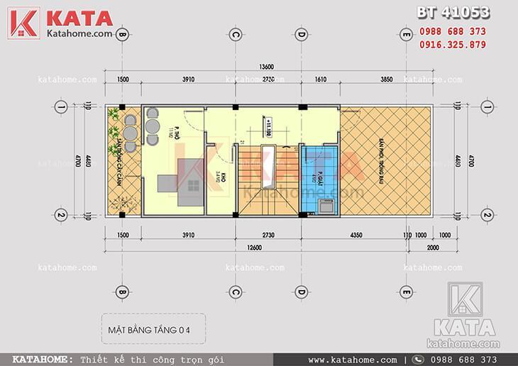 Mặt bằng công năng tầng 4 của mẫu thiết kế nhà phố 4 tầng hiện đại
