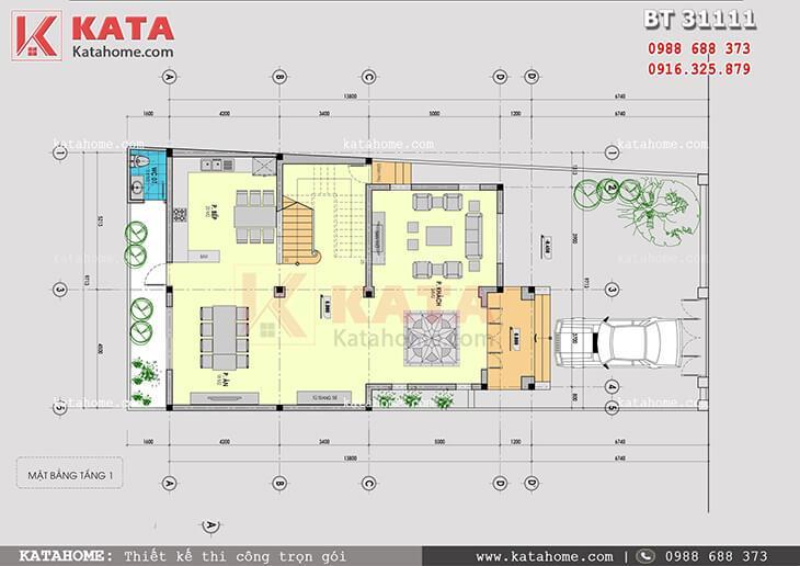Mặt bằng tầng 1 mẫu nhà biệt thự 3 tầng đẹp hiện đại - Mã số: BT 31111