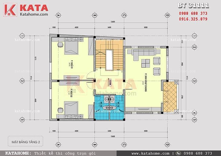 Mặt bằng tầng 2 mẫu nhà biệt thự 3 tầng đẹp hiện đại - Mã số: BT 31111