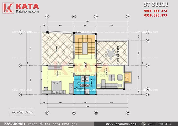 Mặt bằng tầng 3 của mẫu nhà biệt thự 3 tầng hiện đại - Mã số: BT 31111