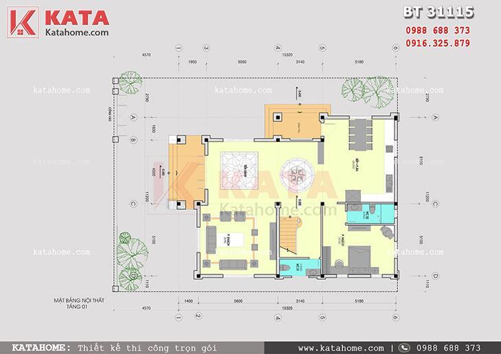 Mặt bằng công năng tầng 1 của mẫu nhà biệt thự 3 tầng tân cổ điển - Mã số: BT 31115
